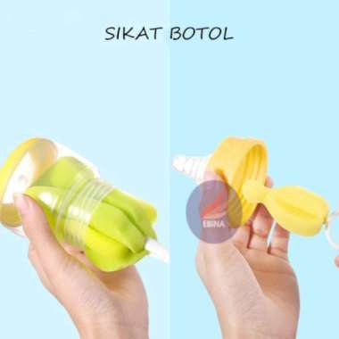 harga Premium Sikat Botol Busa Dan Sikat Dot Bayi  Pembersih Botol Dan Dot Bayi - Kuning Murah Blibli.com