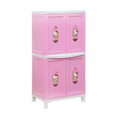 Napolly BCBC 242 HKBF Plastik Lemari Pakaian Anak - Baby Pink