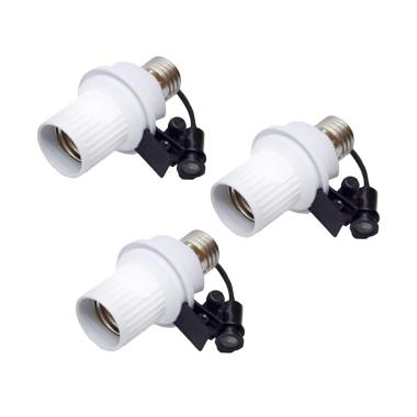 Yangunik Sensor Cahaya Otomatis Paket Fitting Lampu - Putih [3pcs]