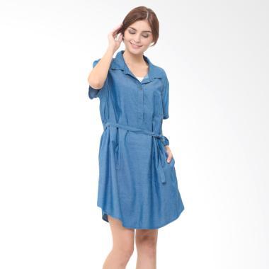 Mooimom Denim Nursing Dress Baju Hamil Menyusui - Navy