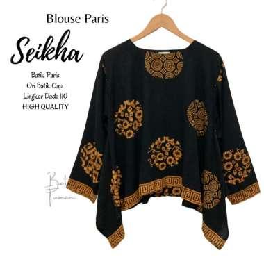 BLOUSE PARIS SEIKHA Atasan Batik Wanita Blus Batik Blouse Batik Warna Hitam Blus Wanita Bahan Paris Premium Fashion Wanita Batik Hitam HITAM
