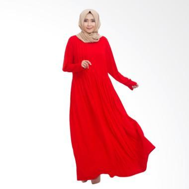 MIMUMOO Kaftan Abaya Jersey Dress Muslim Hamil Syar'i - Merah