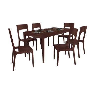 EQUI Furniture Zen Set Meja Makan [6 Kursi]