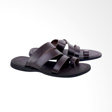 Syaqinah Kulit Sandal Pria - Brown [190]