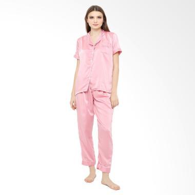 Baju Tidur Bahan SAtin Long Setelan Baju Tidur - Pink