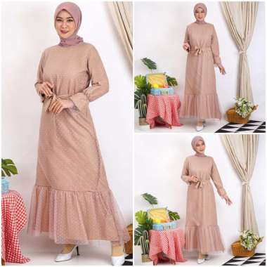 Gamis HALWA Tile Polkadot Maxi Dres Lebaran Long Dress Busana Muslim TERMURAH !!! COKSU