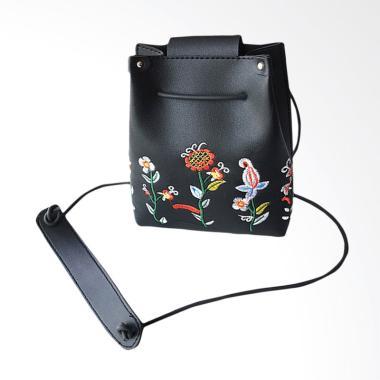 Lansdeal Women Retro Floral Sling Bag Tas Selempang Wanita - Black