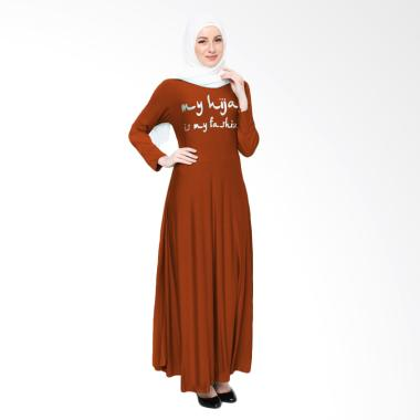 Jfashion Maxi Tangan Panjang Print  ... n Long Dress Gamis - Bata
