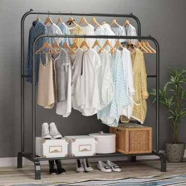 harga RAK PERABOTAN RUMAH TANGGA Double Row Windproof Clothes Hanger A732 Multicolor Blibli.com