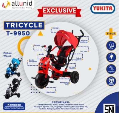harga Sepeda Anak Tricycle Yukita T9950 Roda 3 Kereta Dorong Bayi Balita SNI Termurah Murah Silver Blibli.com