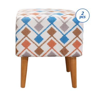 Livien Stool Motif Kotak Kursi Sofa [Set 2 pcs]