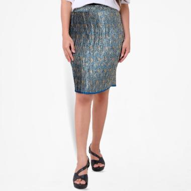Batik Distro R1340 Plisket Elastis Pendek Rok Wanita - Biru