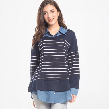 Mooimom Striped Vest Nursing Shirt Baju Ibu Hamil & Menyusui - Navy