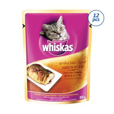 harga Whiskas Grilled Saba Flavor Makanan Kucing [85 g/ 12 pcs/ Wet Food] Blibli.com