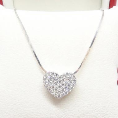 Beauty Culture Bckl009 Big Heart 2 Perak Silver 925 Lapis Emas Putih Kalung Liontin Original