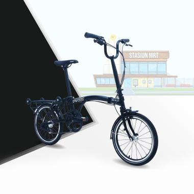 Element Pikes 3 Speed Sepeda Lipat - True Black [16 Inch]