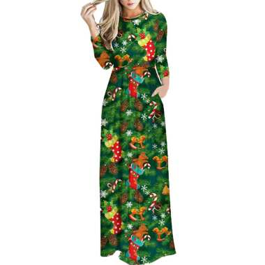 Women Floral Print Long Sleeve O-Neck Tight Waist Maxi Dress Christmas Costume 12#