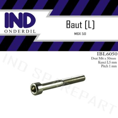 harga IND Onderdil L5 M6x50-6X50 M6x50 Kunci K-5 P-Pitch 1 Baut Bolt L Blibli.com