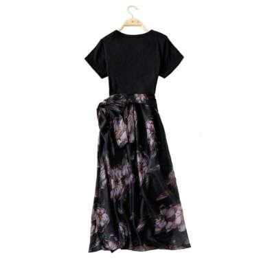 Bluelans Fashion Women Short Sleeve T-shirt Patchwork Floral Chiffon Party Midi Dress