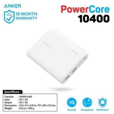 harga PowerBank Anker PowerCore 10400 mAh White - A1214 Orginal 100% putih Blibli.com