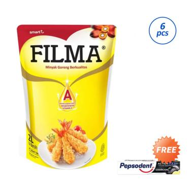 SMG/JOG/SOLO - FILMA Minyak Goreng Pouch [2000 ml x 6 pcs] + Free Pepsodent Action 123 Charcoal Pasta Gigi [160 g]
