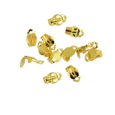 harga 12Pcs French Clip on Earrings Findings with Round Glue on Blank Pad Settings Blibli.com