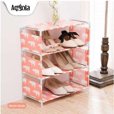 harga Rak Sepatu S2 Rak Buku 4 Tingkat Penyimpanan Tempat Sandal Merah muda - Blibli.com