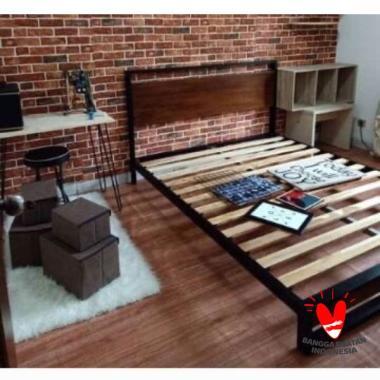 (PRE-ORDER)Dipan divan kasur ranjang besi campur kayu ukuran 90x200 hitam