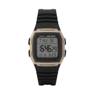 Casio W-96H-9AV Silicon Jam Tangan Pria - Black Gold