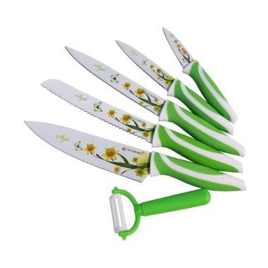 Kitchen Art Knife Set Pisau - Hijau [6 pcs]