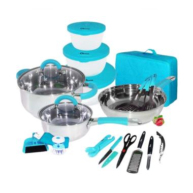 Oxone OX-992 Travel Cookware Set - Biru [23 pcs]