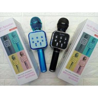 harga Mic Bluetooth Karaoke / SMule Hi-Fi Speaker DS878 With TF/USB/FM Radio Blue Blibli.com