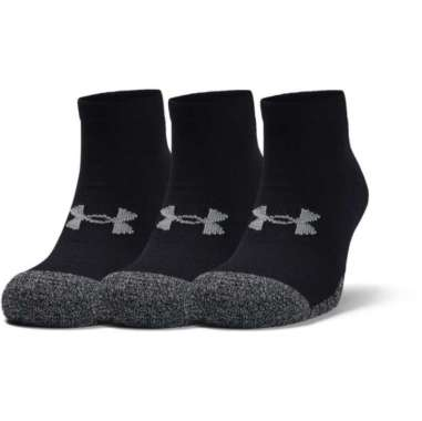 Under Armour Adult HeatGear® Lo Cut Socks 3-Pack - BLACK - BLACK - STEEL L Black