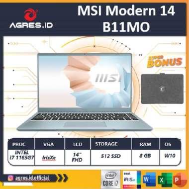 harga MSI Modern 14 B11MO 068 069 - i7 1165G7 8GB 512ssd IrisXe W10 14.0FHS IPS GRY -B11MO blue Blibli.com