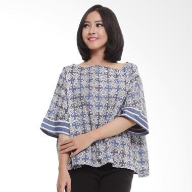 Coeval Collection Kawung Adonia Blouse Batik Atasan Wanita - Grey