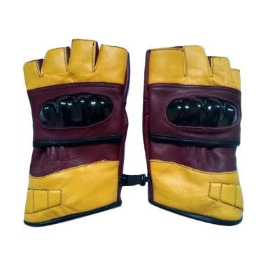 dm79 Kulit Asli Sarung Tangan Half Finger - Yellow [Limited]