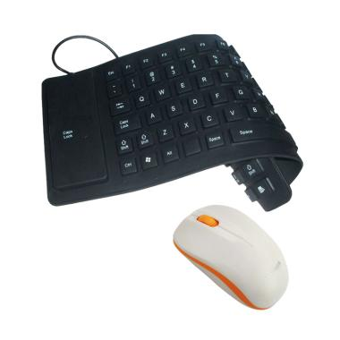 Universal Keyboard Flexible Mini Hitam + Mouse Wireless Advance W10