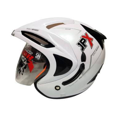 JPX Supreme Double Visor Helm Half Face - White