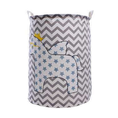 Homestuff Kuda Linen Laundry Bag Keranjang - Abu abu