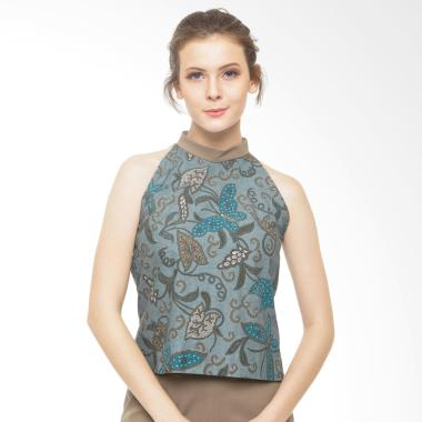 STEPH Halter Neck Blouse Batik - Green
