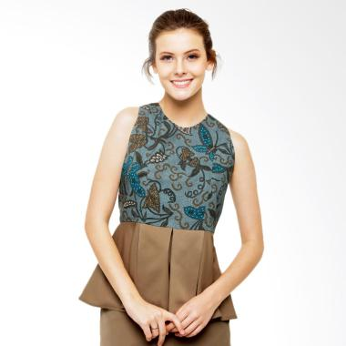 STEPH Batik Blouse with Slit Peplum - Green