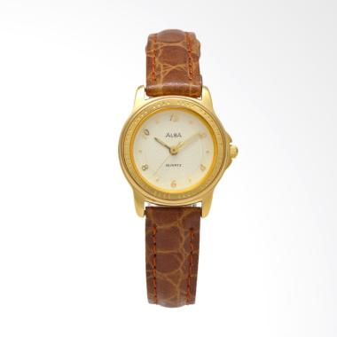 Alba ATCV38 Leather Strap Jam Tangan Wanita - Brown Gold