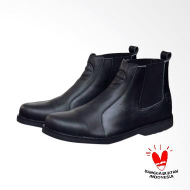 Bradley's Bradleys Elagos Kulit Sepatu Boot Pria - Hitam Bradley