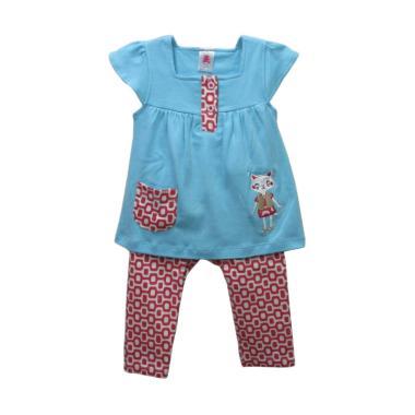 La Petite Setelan Baju Legging Bayi Perempuan - Biru Merah