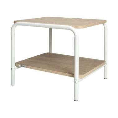Zyo JEJU Series ST-4538.BLI Side Table - Sonoma Oak White Free Frame Kaca
