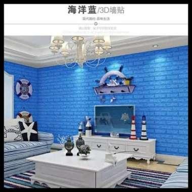 wallpaper tempel foam 3d brick 3.5mm - 3.5mm biru