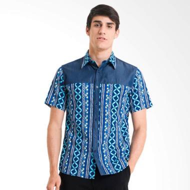 Bateeq Dobi Print Lengan Pendek Kemeja Batik Pria - Blue [FM008C-FW17]