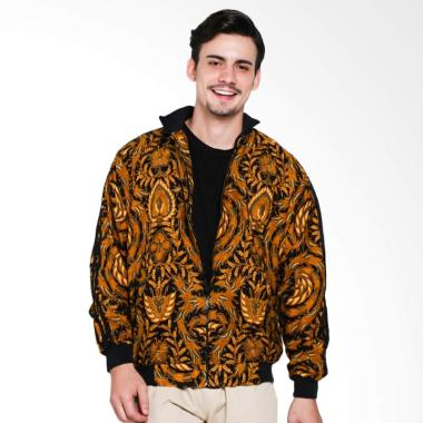 Batik Distro Panjang Strip Jaket Pria - Brown [T1225]