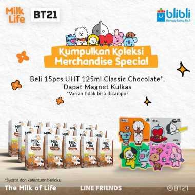 harga SMG/JOG/SOLO - MilkLife Classic Cokelat – UHT Kids Tetra Slim Leaf [125 mL/15 pcs] + FREE Magnet Kulkas BT21 Blibli.com