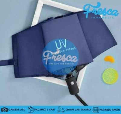 harga Payung Lipat Otomatis Anti UV Protection Buka Tutup Lipat Tiga Trendy UV Protection Payung Otomatis Biru Blibli.com